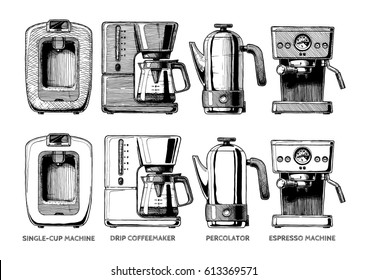 Vector hand drawn illustration set of coffee machines. Single-cup maker, drip coffeemaker,  percolator and espresso machine