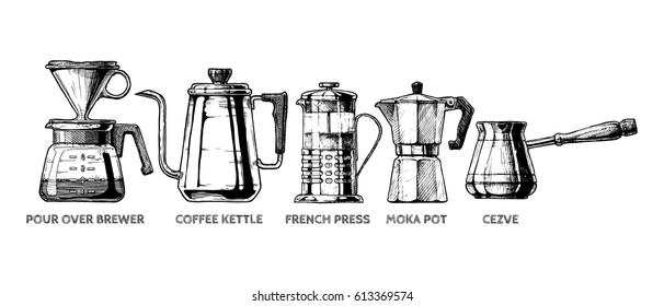 Vector hand drawn illustration set of coffee preparation. Pour over brewer, coffee kettle, french press, moka pot and cezve.