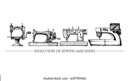 Vector hand drawn illustration of the sewing machine evolution set. From 19th century vintage sewing machines to a modern computerized. isolated on white background. Side view.