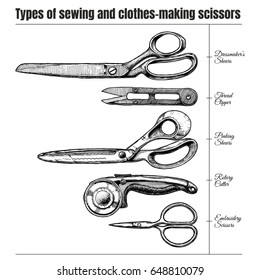 Vector  hand drawn illustration of sewing and clothes-making scissors types. Dressmaker's shears, thread clipper, pinking shears, rotary cutter and embroidery scissors. isolated on white background.