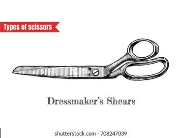Vector hand drawn illustration of sewing and clothes-making scissors in vintage engraved style. Dressmakers shears isolated on white background.
