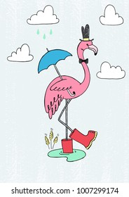 Vector hand drawn illustration of sketch pink flamingo in red rain boots with umbrella staying in puddle at old retro vintage grunge scratched background