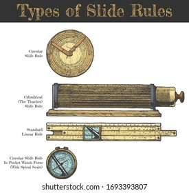 Vector hand drawn illustration of slide rules types. Circular slipstick, cylindrical Thacher, standart Linear rule and in pocket watch form with spiral scale. Isolated on white background.
