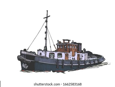 Vector hand drawn illustration of small vintage motor ship. Isolated on white background.