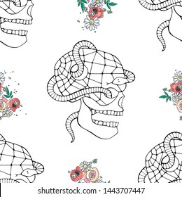 Vector hand drawn illustration of smiling skull with watercolor flowers, spider web, tooth, face of human Print horror for t shirt. Mexican style, day of the dead, halloween. Sketch, doodle drawing.