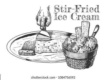 Vector hand drawn illustration of Stir-fried ice cream in vintage engraved style. isolated on white background.