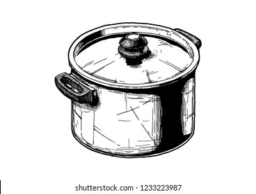 Vector hand drawn illustration of Stock pot in vintage engraved style. Isolated on white background.