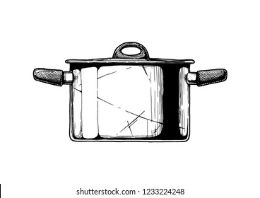 Vector hand drawn illustration of Stock pot in vintage engraved style. Isolated on white background. Side view.