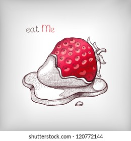 Vector hand drawn illustration of a strawberry