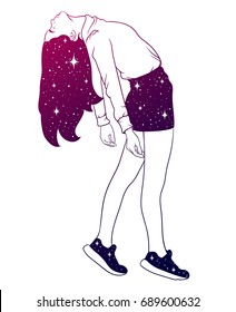 Vector hand drawn illustration of surreal cosmic girl. Template for card, poster, banner, print for t-shirt.