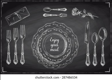 Vector hand drawn illustration with Table setting set. Sketch. Vintage illustration. Chalkboard.