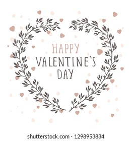 Vector hand drawn illustration of text HAPPY VALENTINE'S DAY and floral frame in the shape of a heart on white background.