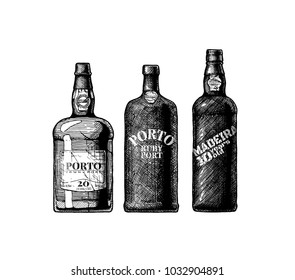 Vector hand drawn illustration of three port and Madeira wine bottles in vintage engraved style.