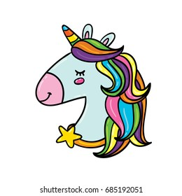 Vector hand drawn illustration of unicorn head with star necklace and rainbow hair isolated on white background