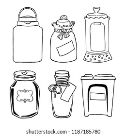 Vector hand drawn illustration with vintage different jars for grits products set: sugar, salt, coffee, buckwheat, oatmeal. Contour sketch jars with empty label in black isolated over white.