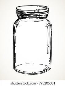 Vector hand drawn illustration with vintage mason jar. Contour sketch in black isolated over white.