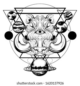 Vector hand drawn illustration of warthog with planets isolated. Surrealistic tattoo artwork Template for card, poster, banner, print for t-shirt, pin, badge, patch.