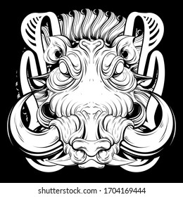 Vector hand drawn illustration of warthog  isolated.  Creative tattoo artwork. Template for card, poster, banner, print for t-shirt, pin, badge, patch, coloring books.