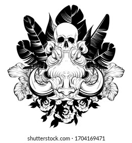 Vector hand drawn illustration of warthog wuth human skull  isolated.  Creative tattoo artwork. Template for card, poster, banner, print for t-shirt, pin, badge, patch, coloring books.