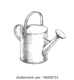 Vector hand drawn illustration of watering can.  Tool for planting job in sketch style.