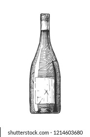 Vector hand drawn illustration of wine bottle in vintage engraved style. Isolated on white background.