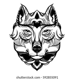 Vector hand drawn  illustration of wolf with decorative elements. Artwork in boho style. Hand sketched portrait of animal. Template for card poster banner print for t-shirt