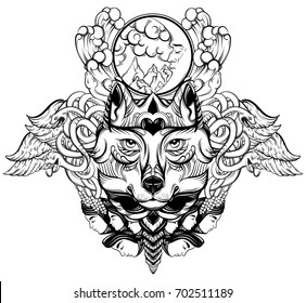Vector hand drawn  illustration of wolf with decorative elements. Artwork in boho style with wings, moon, snakes, moth.  Template for card poster banner print for t-shirt.