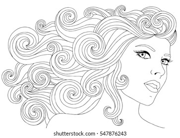 hair wave images stock photos vectors shutterstock Finger Waves vector hand drawn illustration woman with waves floral hair for adult coloring book freehand sketch
