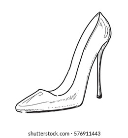 VECTOR Hand drawn illustration woman shoe sketch icon isolated on background