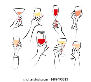 Vector hand drawn illustration of woman's hand hold wine glass isolated on white background. Hand drawn sketch minimal style. Concept for ladies night party, bar, happy cocktail hour, winery logo.