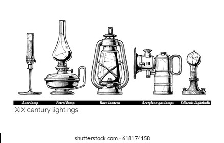 Vector hand drawn illustration of XIX century lightings evolution. Auer lamp with gas mantle, Barn lantern, kerosene and carbide lamps, Edison Light bulb. Isolated on white background.