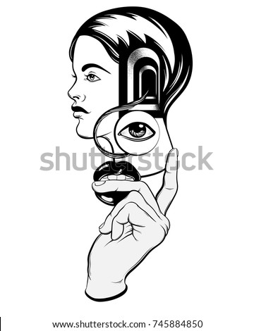 vector hand drawn illustration young girl stock vector royalty free