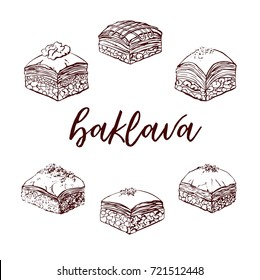 Vector hand drawn illustrations with famous dessert Baklava. Assorted sweets ink drawing isolated on white. Mix of different pastry products for menu, card, flyer or poster design