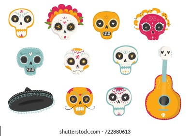 "Vector hand drawn illustrations of Mexican holiday ""Day of the Dead"". The postcard with traditional sugar skulls, marigold flowers ""Dia de los Muertos"""