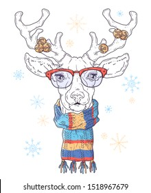 Vector hand drawn illustrations. Portrait of cute deer in Christmas accessories. Each object can be changed and moved for your design.