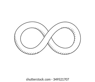 Vector hand drawn Infinity symbol. Limitless reative concept sketch