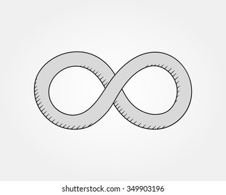 Vector hand drawn Infinity symbol. Limitless Creative concept sketch