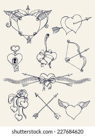 Vector hand drawn ink pen retro vintage design elements, spacers, dividers and dingbats on bow and arrow, hears, wings and other romantic valentine's day items, black and white