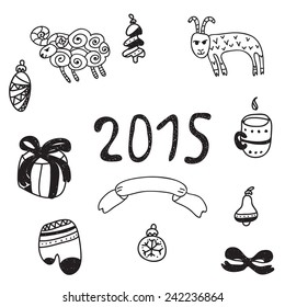 Vector hand drawn isolated doodle winter collection. Christmas bundle icons. New year holidays pattern set with symbols of the year. Goat and sheep patterns.