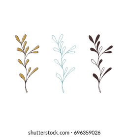 Vector hand drawn isolated floral elements, branches. Simple modern design, scandinavian style. For holiday cards, decorations, templates. Part of a large winter collection.