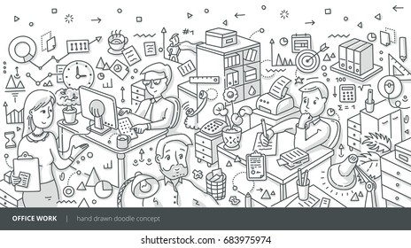 Vector hand drawn isometric illustration of people working in a busy office. Doodle concept of working in office