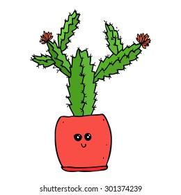 vector hand drawn kawaii cactus