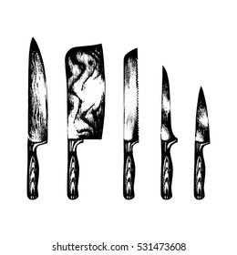 Vector hand drawn kitchen knives set. Chef's or butcher's tools illustration. Cutlery sketches collection for shop, butchery, restaurant, cafe etc.