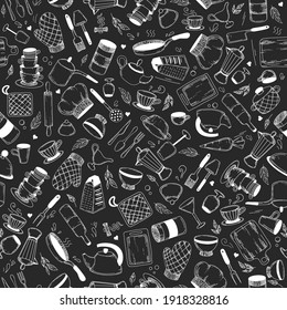 Vector hand drawn kitchen tools seamless pattern. Vintage background. Sketch kitchen tool, kitchenware. Pan, knife and fork, grater chef utensils vector gastronomy texture or doodle wallpaper