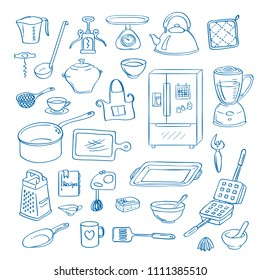 Vector hand drawn kitchen utensils doodle icons set illustration. Isolated kitchen appliances objects on white background. Kitchenware and home accessories elements