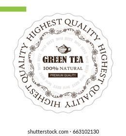 Vector hand drawn label, sticker, logo or paper tag for green tea. Ornate flourish frames, wave line. Art suitable for tea house design, table tent printing, drink list or restaurant menu