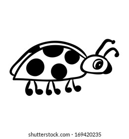 Vector hand drawn ladybug. Black sketch on white background.