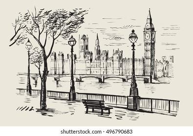 vector hand drawn landscape of London city