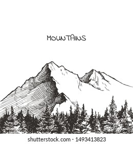 Vector hand drawn landscape with mountains and forest. Wild nature view in sketch style.