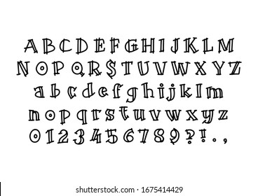 Vector hand drawn latin alphabet isolated on white background. Letters outline in black color. Simple font in flat style illustration. Modern brush lettering. Comics book font. Set of numbers.